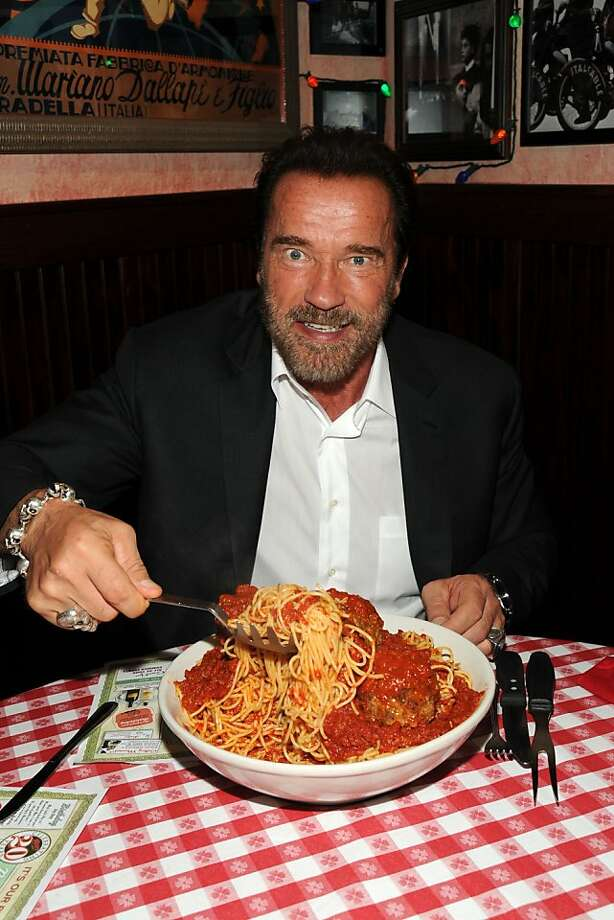 "More spaghetti, Mr. Schwarzenegger? The former governor of California attends the ""Escape Plan"" after-party 