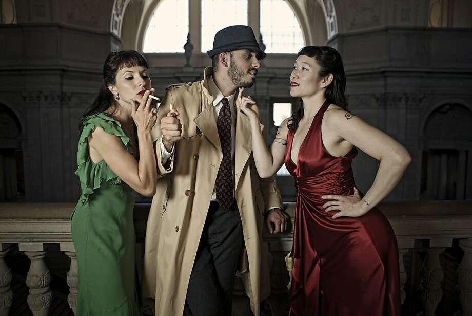 "Nicole Nastari, Eric Garcia and Erin Mei-Ling Stuart perform in ""Being Raymond Chandler."" Photo: Pak Han"
