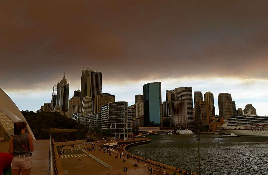 Hot and smoggy down under: Smoke and ash from wildfires burning across the state of New South Wales blankets the 