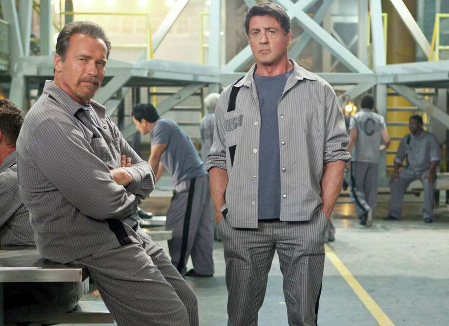 Arnold Schwarzenegger; Sylvester Stallone in Escape Plan Alan Markfield/Summit Entertainment    Ph: Steve Dietl  © 2013 Summit Entertainment, LLC.  All rights reserved. Photo: Alan Markfield / © 2013 Summit Entertainment, LLC.  All rights reserved.