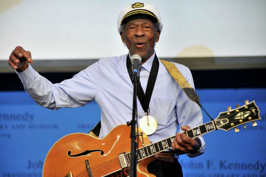 "FILE - This Feb. 26, 2012 file photo, musician Chuck Berry plays ""Johnny B. Goode"" at the John F. Kennedy Presidential Library and Museum in Boston. Berry will be honored this fall by the Rock and Roll Hall of Fame as part of its American Music Masters series. (AP Photo/Josh Reynolds, File) Photo: Josh Reynolds / FR25426 AP"