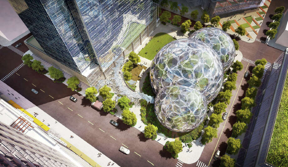 The latest proposed design of the spheres on Amazon's planned campus is shown in this artist's depiction. Photo: NBBJ,  Amazon