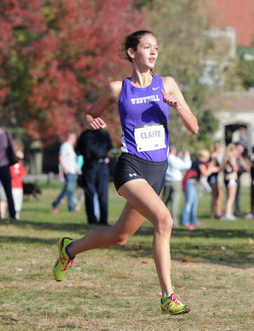 Claire Howlett of Westhill High School during the FCIAC girls high school cross country championships at Waveny Park, New Canaan, Thursday, Oct. 17, 2013. Howlett finished in second place for the race. Photo: Bob Luckey / Greenwich Time