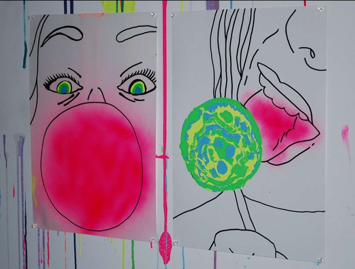 Han Dogan, Facial, Spray Enamel, Xylene Based Ink and Acrylic Paint on Photographic Enlarging Paper, 2010, diptych 19
