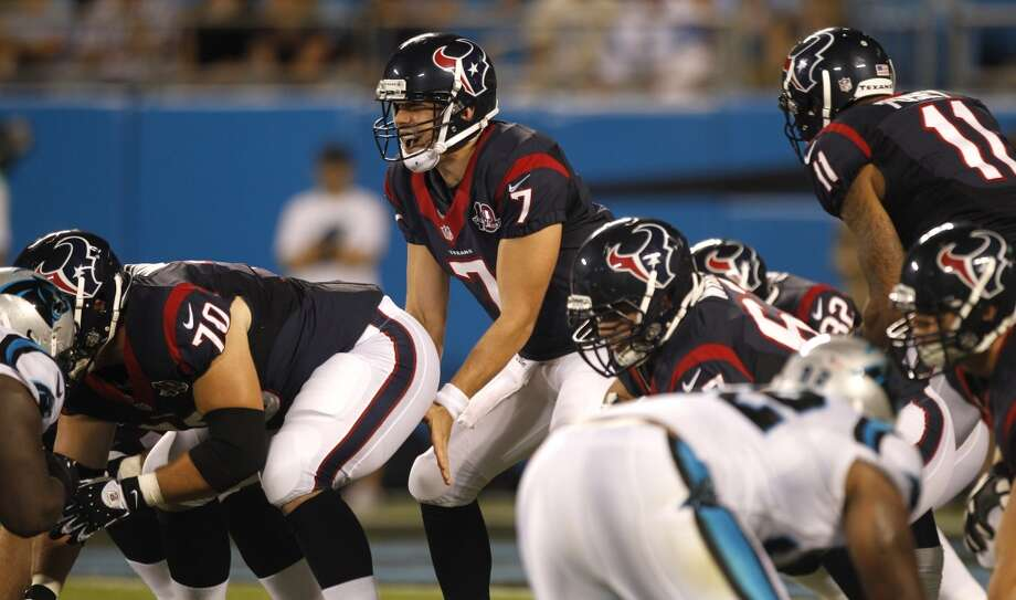 Case Keenum under center during a 2012 preseason game against the Carolina Panthers. Photo: Brett Coomer, Houston Chronicle