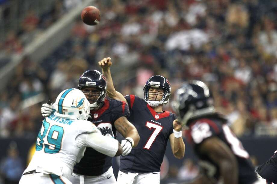 Case Keenum throws a pass during a 2013 preseason game against the Dolphins. Photo: Brett Coomer, Houston Chronicle