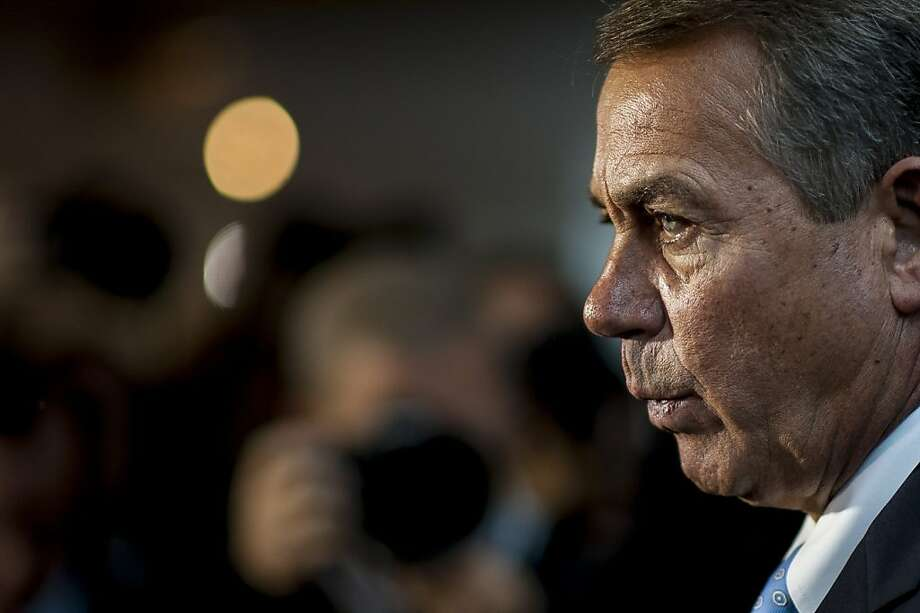 House Speaker John Boehner speaks at the Capitol during the shutdown. Photo: Pete Marovich, Bloomberg