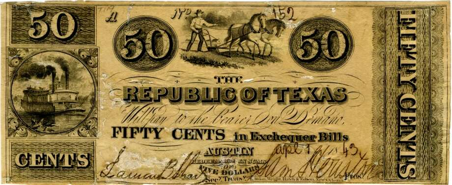"""Texas used to have its own currency.  Paper money was first issued in 1837. It was called """"star money"""" because of the small star on the face of the bill. They had elaborate designs on the front and back. It declined because  New Orleans  suppliers cut off the credit that Houston merchants depended on. Photo: Courtesy Of Darrel Brown"""