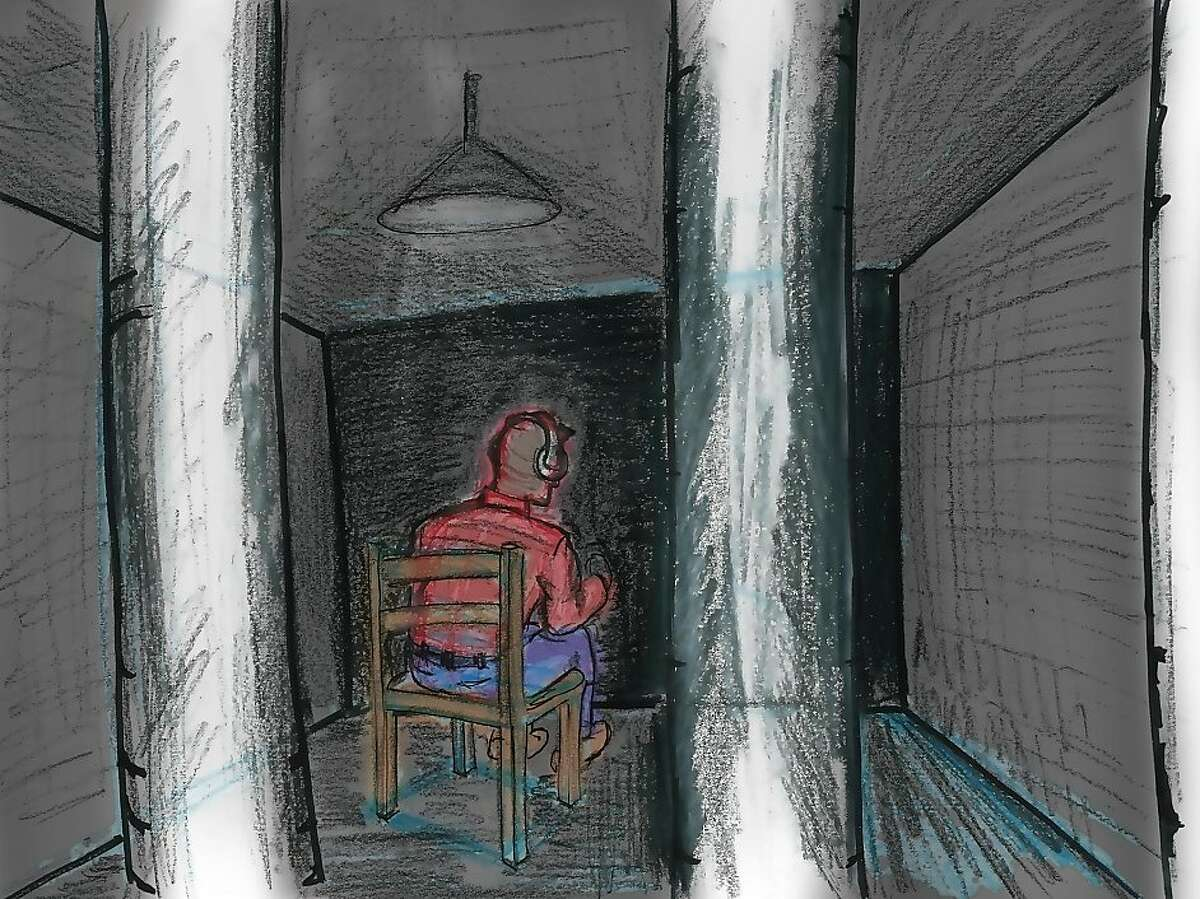 A sketch by Stanford's reDesigning Theater Project artist Jeff Kessler, depicts a guest in solitary confinement as part of an art installation from