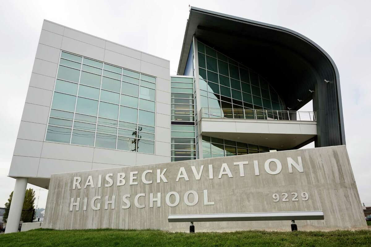 A view of the outside of the Raisbeck Aviation High School Thursday, Oct. 17, 2013, in Tukwila.