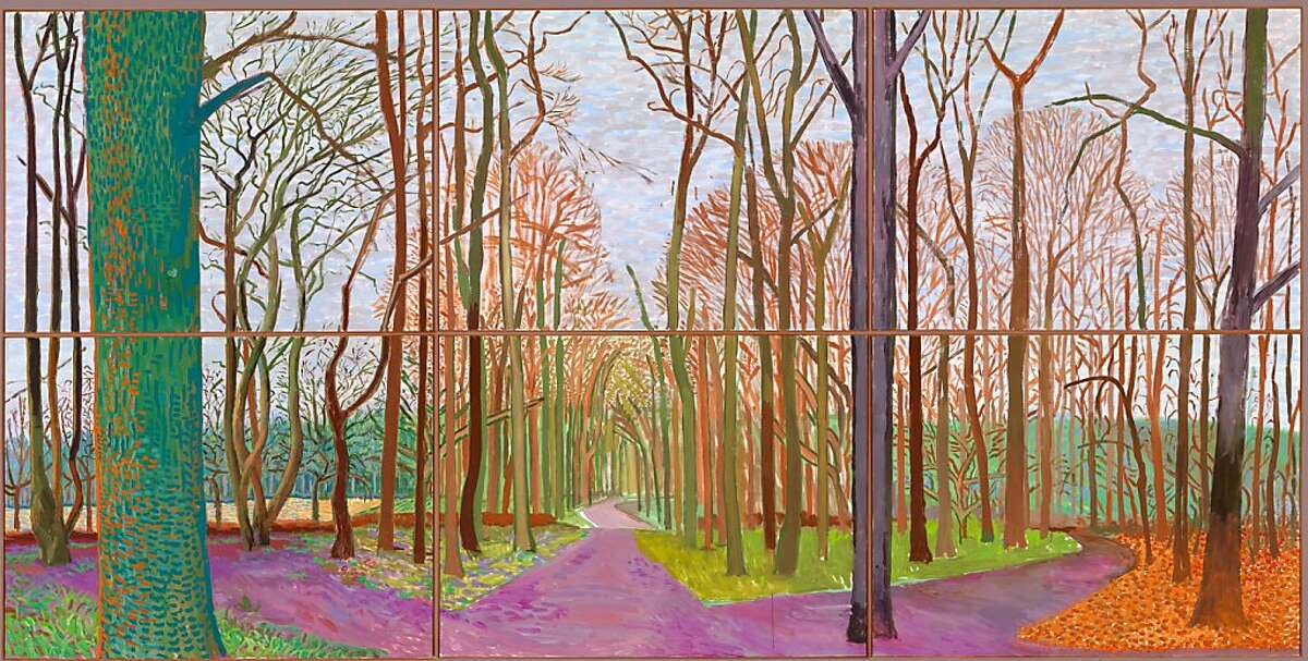 """""""WOLDGATE WOODS, 30 MARCH - 21 APRIL"""" 2006 OIL ON 6 CANVASES (36 X 48"""" EACH) 72 X 144"""" OVERALL ©ÊDAVID HOCKNEY"""