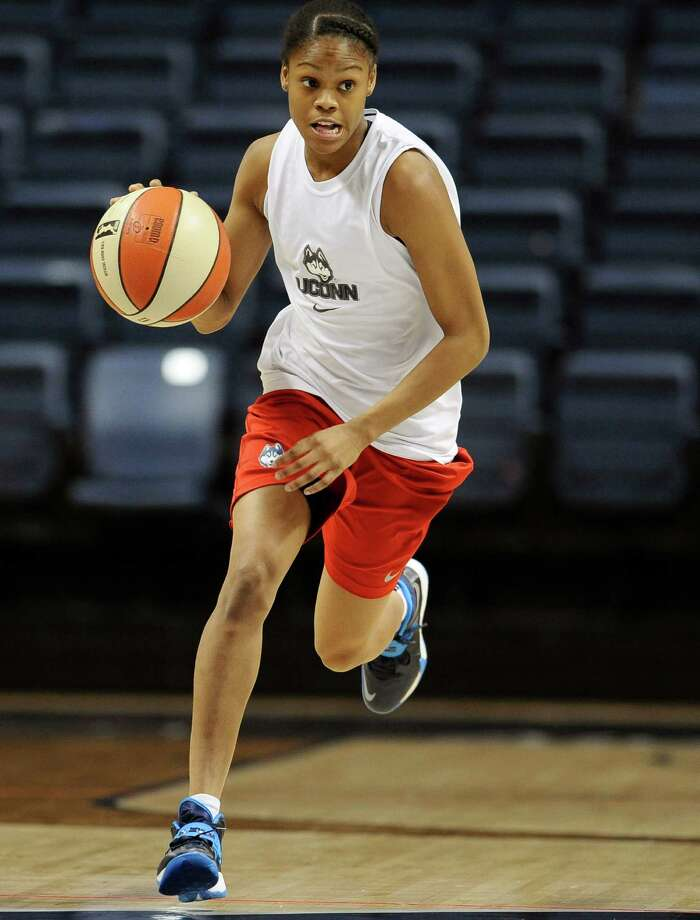 Connecticut's Moriah Jefferson, drives upcourt during practice after the team's NCAA college basketball media day, Monday, Sept. 30, 2013, in Storrs, Conn. (AP Photo/Jessica Hill) Photo: Jessica Hill, Associated Press / Associated Press