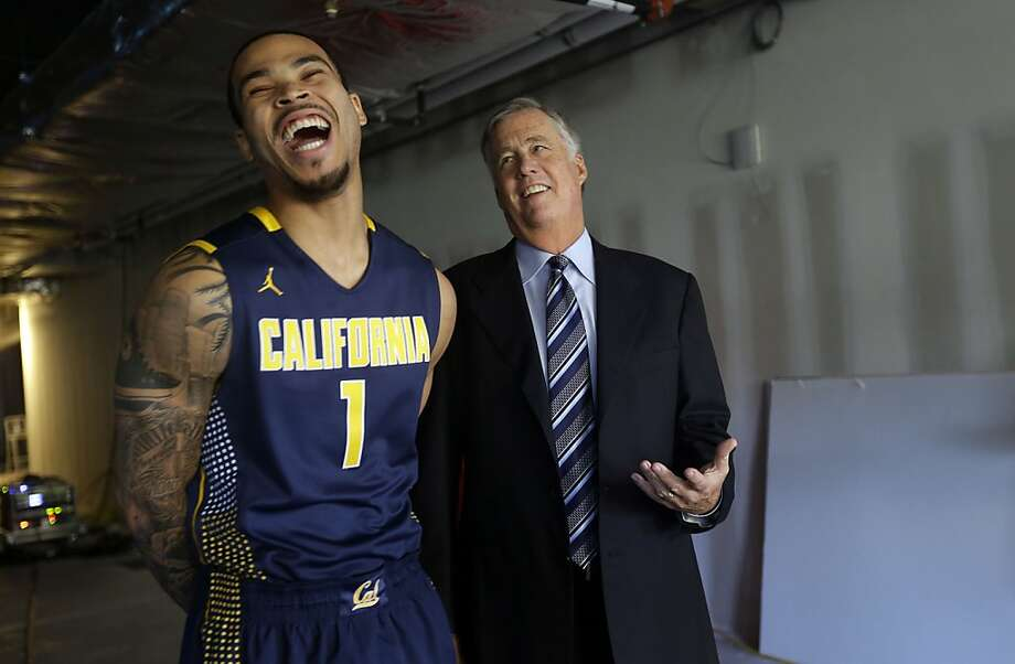 Justin Cobbs jokes with head coach Mike Montgomery during media day in San Francisco. Cobbs is one of four starters back from a Cal team that tied for second in the Pac-12. Photo: Marcio Jose Sanchez, Associated Press