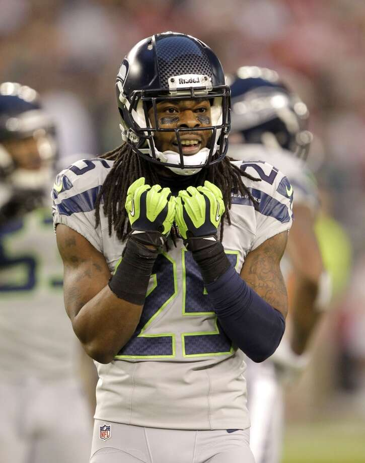 Seattle Seahawks cornerback Richard Sherman (25) looks to the bench against the Arizona Cardinals during the first half of an NFL football game, Thursday, Oct. 17, 2013, in Glendale, Ariz. (AP Photo/Rick Scuteri) Photo: AP