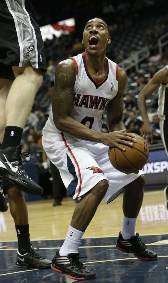 Atlanta Hawks point guard Jeff Teague (0) is shown against the San Antonio Spurs in the second half of a preseason NBA basketball game, Thursday, Oct. 17, 2013 in Atlanta.  San Antonio won 106-104. Photo: John Bazemore, Associated Press