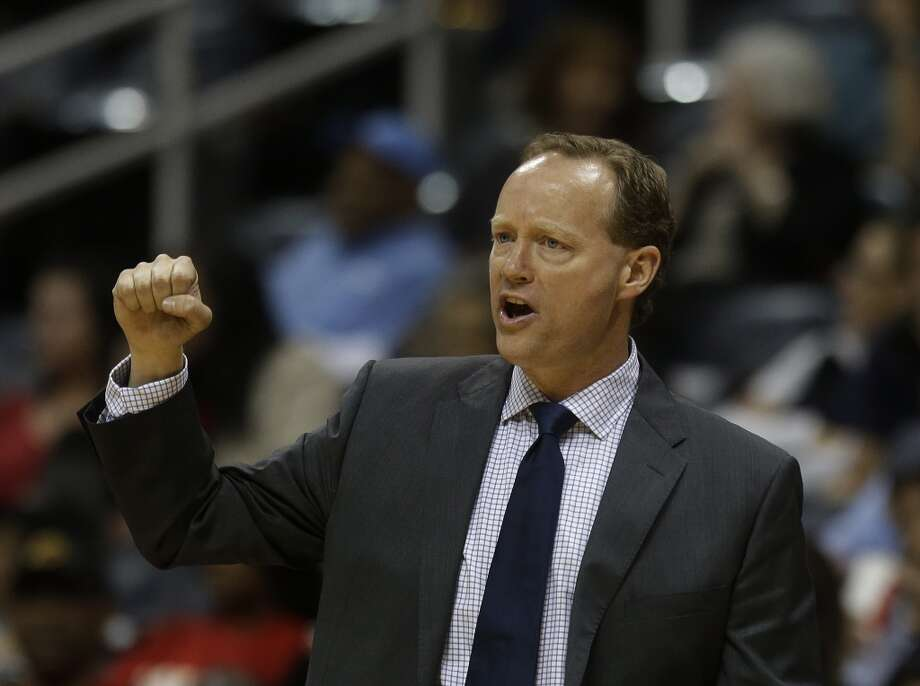 Atlanta Hawks head coach Mike Budenholzer is shown in the second half of a preseason NBA basketball game, Thursday, Oct. 17, 2013 in Atlanta.  San Antonio won 106-104. Photo: John Bazemore, Associated Press