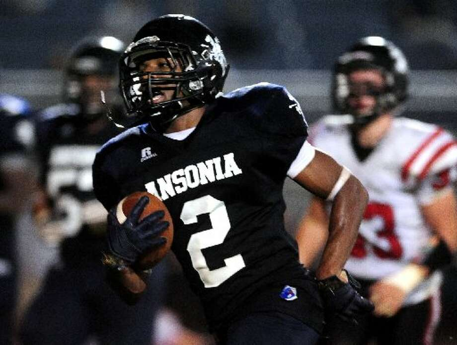 Arkeel Newsome rushed for 396 yards and six touchdowns on Thursday as top-ranked Ansonia crushed Masuk 56-21. (Photo by Christian Abraham)