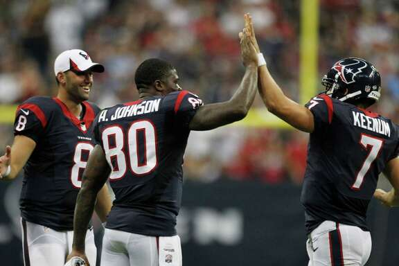Quarterback Case Keenum, right, hopes that his first NFL start on Sunday will come with plenty of celebration time with Andre Johnson, center, as the former takes the place of injured Matt Schaub.