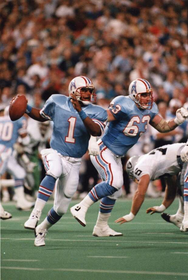 Warren MoonYear: 1984 Week 3Result: Loss at Chargers 31-14Stats: 11-31 for 212 yards, 1 TD, 0 INT - 70.9 rating Photo: Kerwin Plevka, © Houston Chronicle