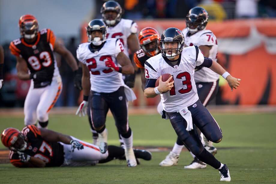 T.J. YatesYear: 2011 Week 13Result: Win at Bengals 20-19Stats: 26-44 for 300 yards, 2 TDs, 1 INT - 85.4 rating Photo: Smiley N. Pool, Houston Chronicle
