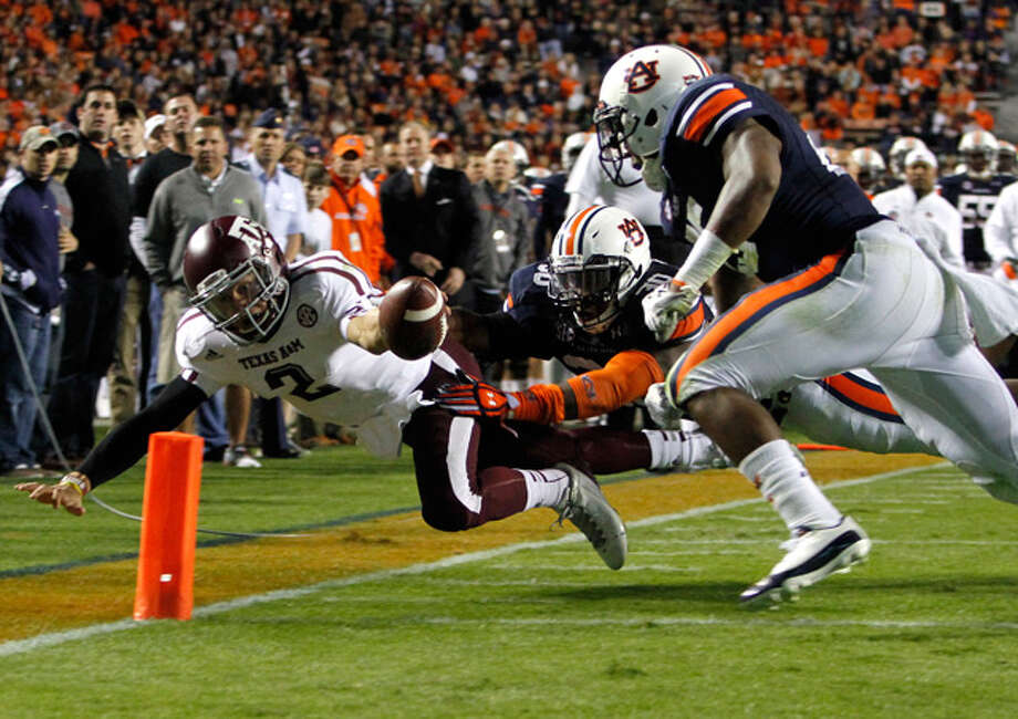 Manziel went record-smashing on Auburn in 2012.  This time at Kyle the carnage not quite so severe. Photo: Butch Dill