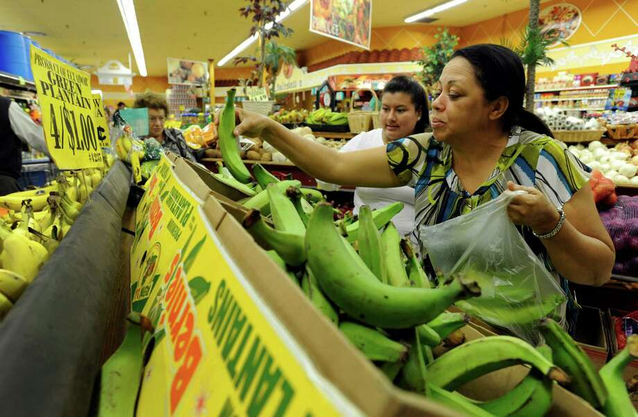 Lydia DeLaCruz, of Bethel, Conn., right,  shops at C Town in Danbury Thursday, Oct. 17, 2013. The Dominican Republic native, is picking out plantains. Lisbeth Jimenez, of Danbury, originally of Ecuador, is behind her. Photo: Carol Kaliff / The News-Times