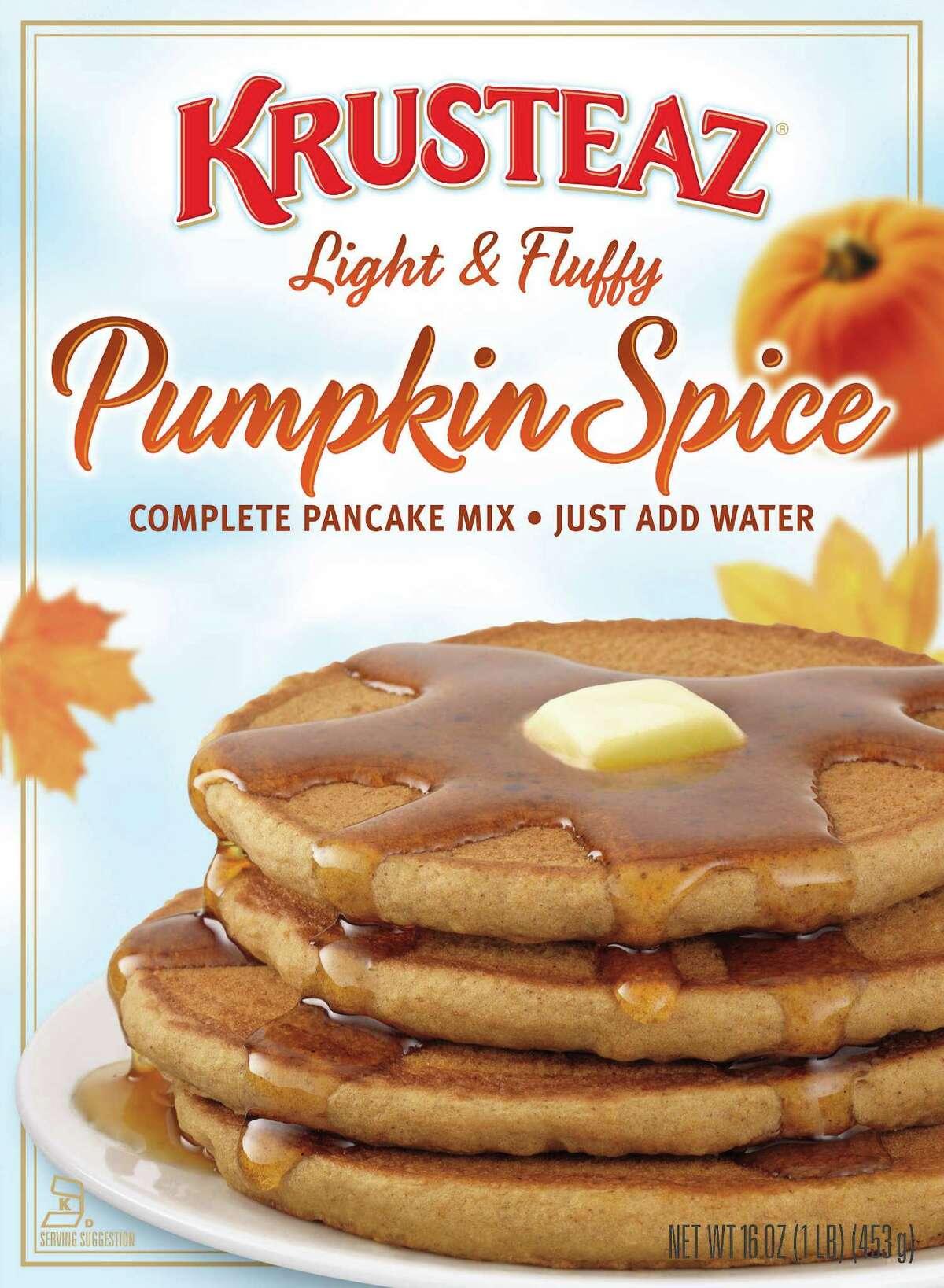 Krusteaz, which makes baking and pancake mixes, offers several seasonal mixes: Pumpkin Quick Bread, Pumpkin Pie Bar, Pumpkin Spice Muffins and Pumpkin Spice Pancakes.