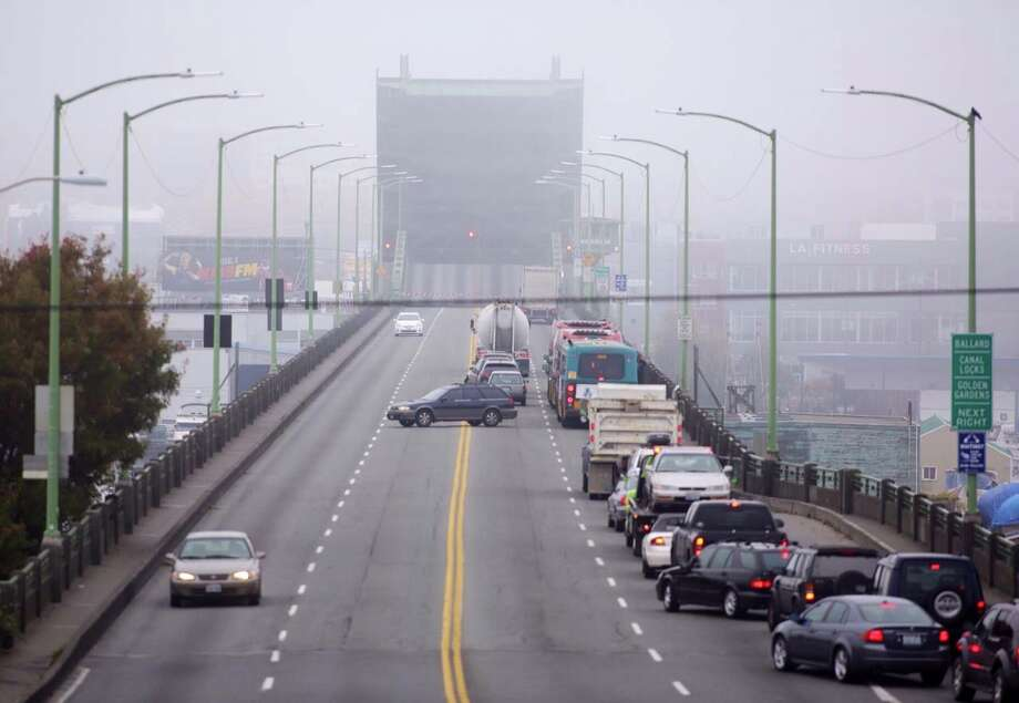 Northbound traffic was backed up on the Ballard Bridge while the draw span was stuck in the open position Friday morning due to mechanical issues. Photo: Jordan Stead/seattlepi.com