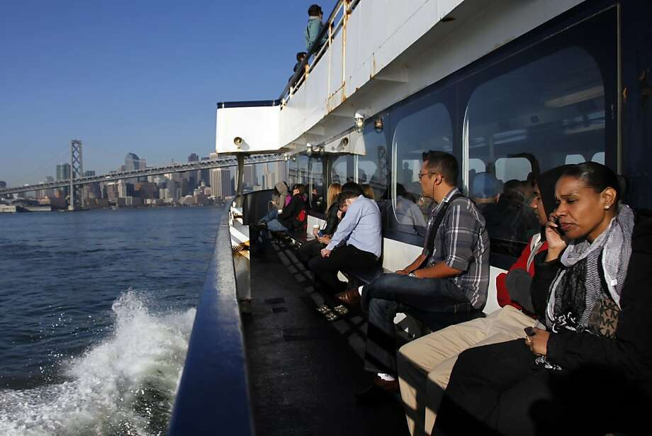 Passengers ride the ferry from Jack London Square to Ferry Building during the first day of the BART strike in San Francisco, Calif., Friday, Oct. 18, 2013. Photo: Nicole Fruge, The Chronicle