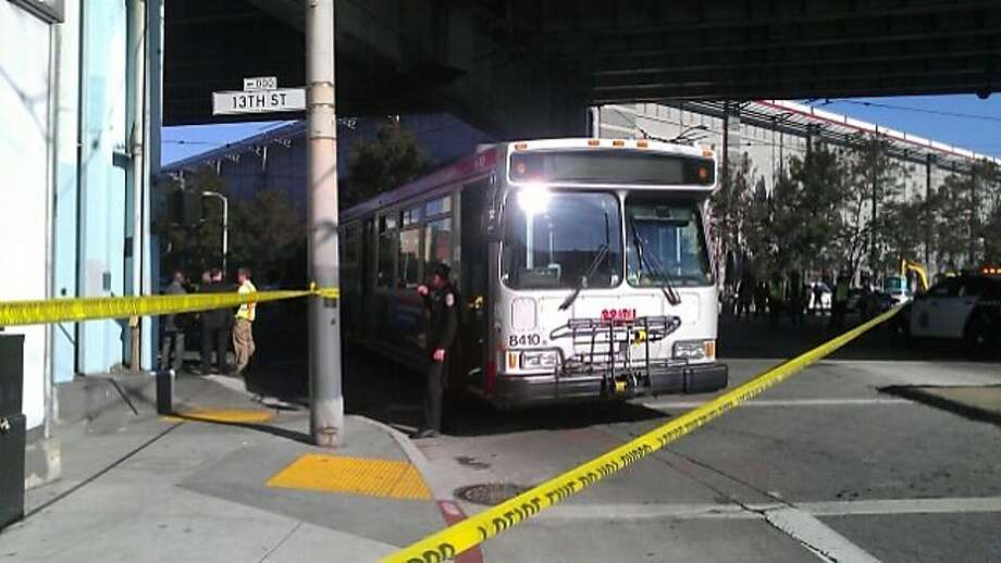 The scene where a bicyclist was killed Friday morning in a collision with a Muni bus at 11th Street and Bryant Street. Photo: Lea Suzuki, The Chronicle