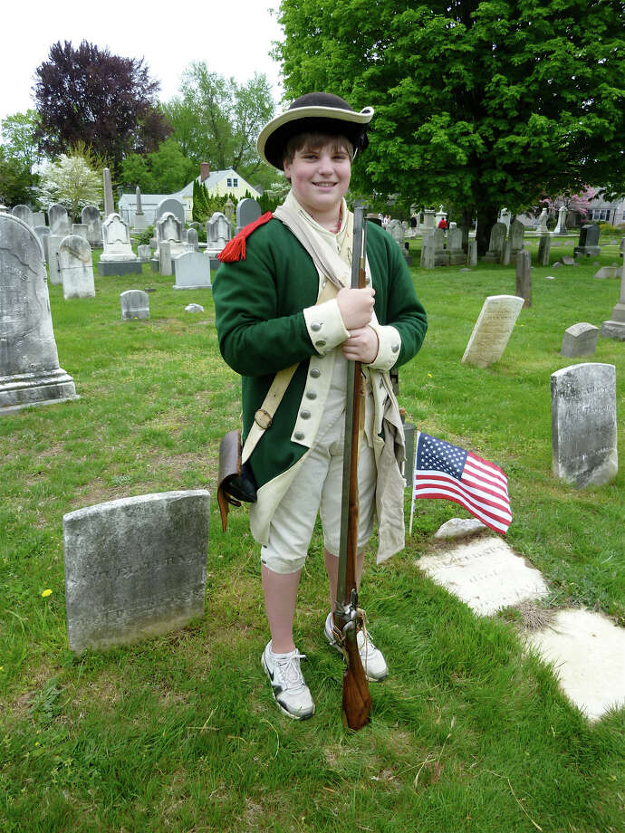 Costumed actors will tell stories of 18th, 19th, and 20th century people in the Old Town Cemetery in New Fairfield on Sunday, Oct. 20. The boy in this photo is portraying a Civil War veteran at a similar event in Fairfield. Photo: Contributed Photo/Mike Lauterbor, ST / Fairfield Citizen contributed