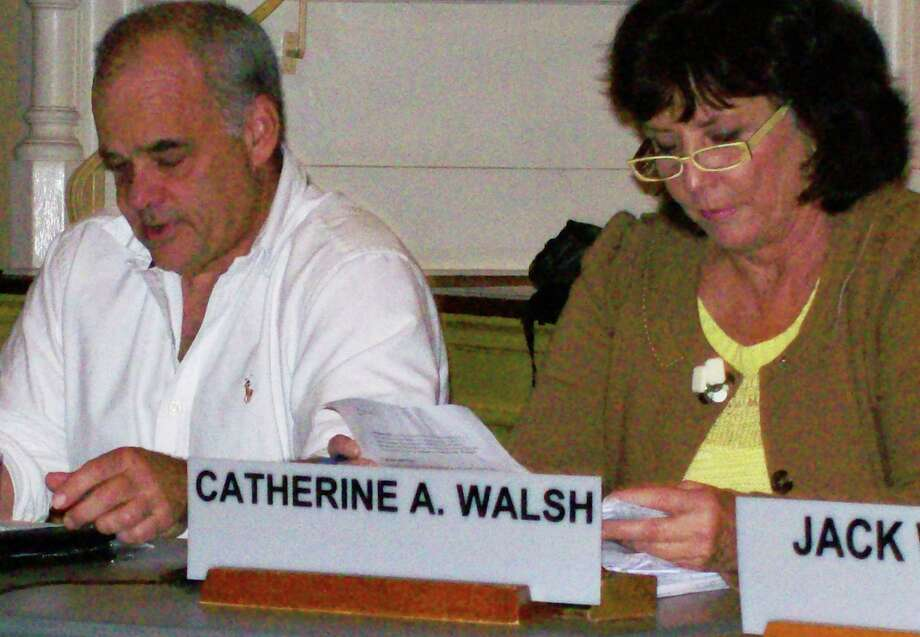 Planning & Zoning Commission members Chip Stevens and Cathy Walsh, chair, at a recent meeting in Town Hall where a moratorium regarding marijuana was unanimously approved. Photo: Anne M. Amato / Westport Newsw
