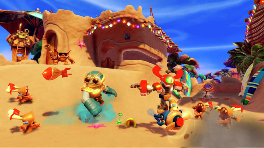 "In this undated photo released by Activision, two robots, Boom Jet and Magna Charge, switch body parts in ""Skylanders Swap Force"" (Activision, for the Xbox 360, PlayStation 3, Wii U, $74.99). (AP Photo/Activision) ORG XMIT: CAET141 / Activision"