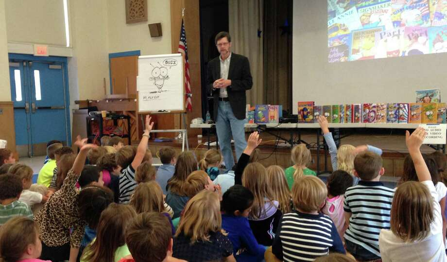 Children's book author and illustrator recently visited Royle School in Darien and shared behind-the-scenes stories about how he does his job. Photo: Contributed Photo, Contributed / Darien News