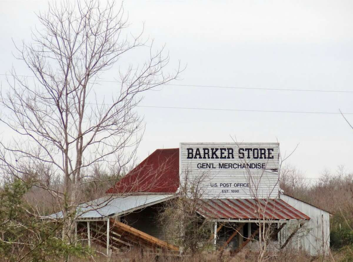 The lost towns of Houston:BarkerNamed for Ed Barker, a railroad track-laying contractor, the town was on I-10 near Barker Cypress Road. It had an inn, a brick factory, a twine mill, a general store, telephone company, a depot, two churches and a school. From 1925 to 1949 it had a population of 100.  Remnants of Barker still exist in West Houston near Katy at 604 O'Brien Road.  Source: Texas State Historical Association