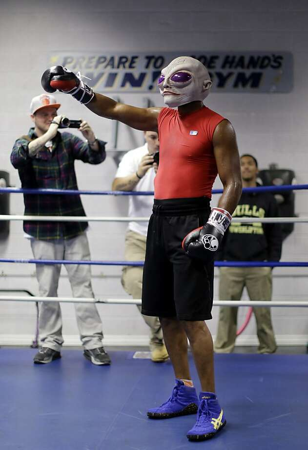 The almost 50 champ: Forty-eight-year-old Bernard Hopkins, of Philadelphia by way of Alpha Centuri, is the oldest man in recorded history to hold a world boxing title. The IBF world light heavyweight champion is scheduled to defend his title against Karo Murat at Boardwalk Hall in Atlantic City next Saturday. Photo: Matt Rourke, Associated Press