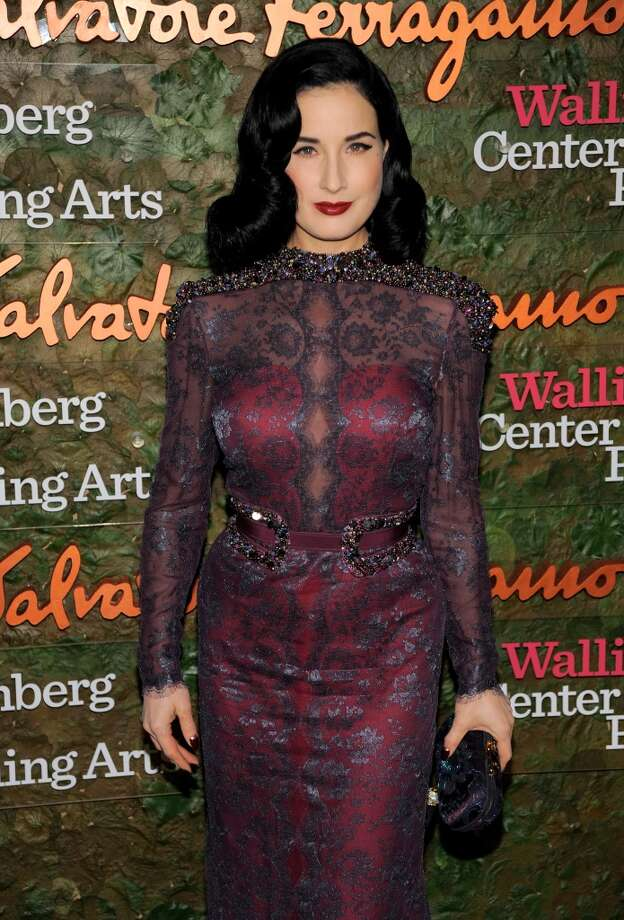 Burlesque dancer Dita Von Teese arrives at the Wallis Annenberg Center for the Performing Arts Inaugural Gala on Thursday, Oct. 17, 2013, in Beverly Hills, Calif. (Photo by Chris Pizzello/Invision/AP) Photo: Associated Press