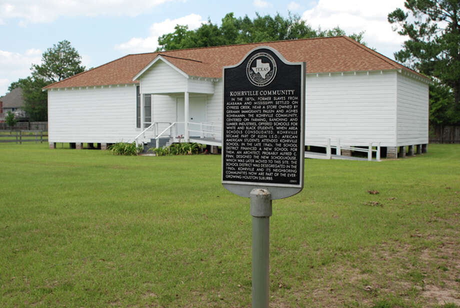 The Kohrville community (also known as Pilotville) was founded in the 1870s at FM 149 and Spring Cypress Road when former slaves relocated to Cypress Creek near a general store owned by German immigrants. It centered on farming, ranching and the lumber industry, and it eventually became a part of the Klein Independent School District. A historical marker remains in Harris County Precinct 4.Sources: Harris County Precinct 4, Texas State Historical Association Photo: Harris County Precinct 4