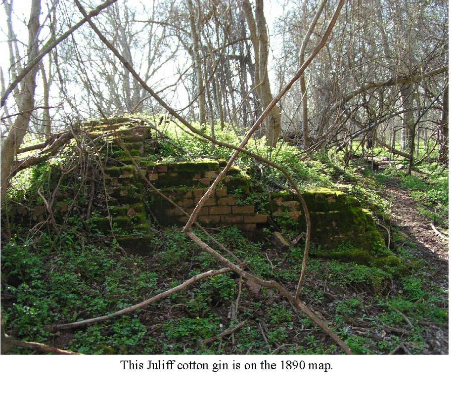 Remains of the Juliff cotton gin are pictured above. The town was on the Missouri Pacific Railroad, FM 521 and the Brazos River, about 20 miles east of Richmond. It was apart of the Arcola plantation. In the early 1850's Juliff was a shipping point on the river, and it gained a post office in 1891. By 1940 the town had about 50 citizens, a church and three businesses. The population rose to 150 in the late 1940s, but by the 1960s it had faded away.Source: Texas State Historical AssociationPhoto credit: Life on the Brazos River Photo: Life On The Brazos River