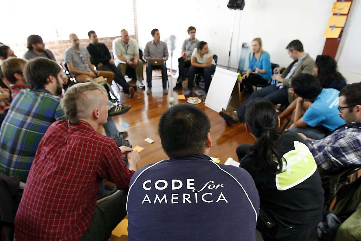 Former Code for America fellows discuss their experiences with each other in a group meeting titled Fellowship Failures, during the Code for America Summit held at the Code For America offices in San Francisco, CA Thursday, October 17, 2013. The Code for America Summit is a gathering of technologists, government officials, and activists who are working together to leverage technology to fundamentally change the way government works.
