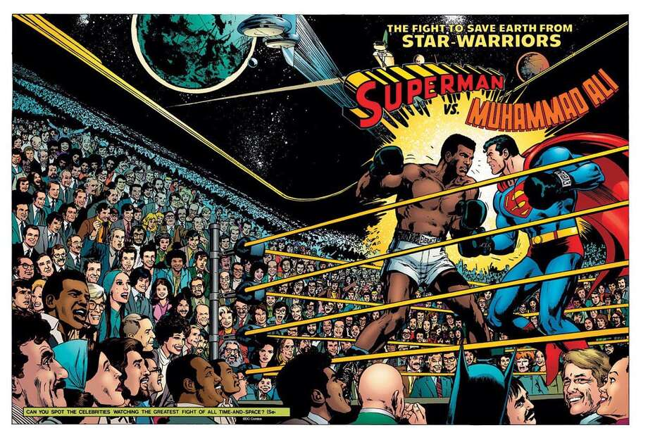 Neal Adams' cover art for 'Superman vs. Muhammad Ali,' published by DC Comics in 1978. The wraparound cover features many celebrities from the late 1970s, including the Beatles, Cher and Johnny Carson. Photo: Copyright & Trademark DC Comics