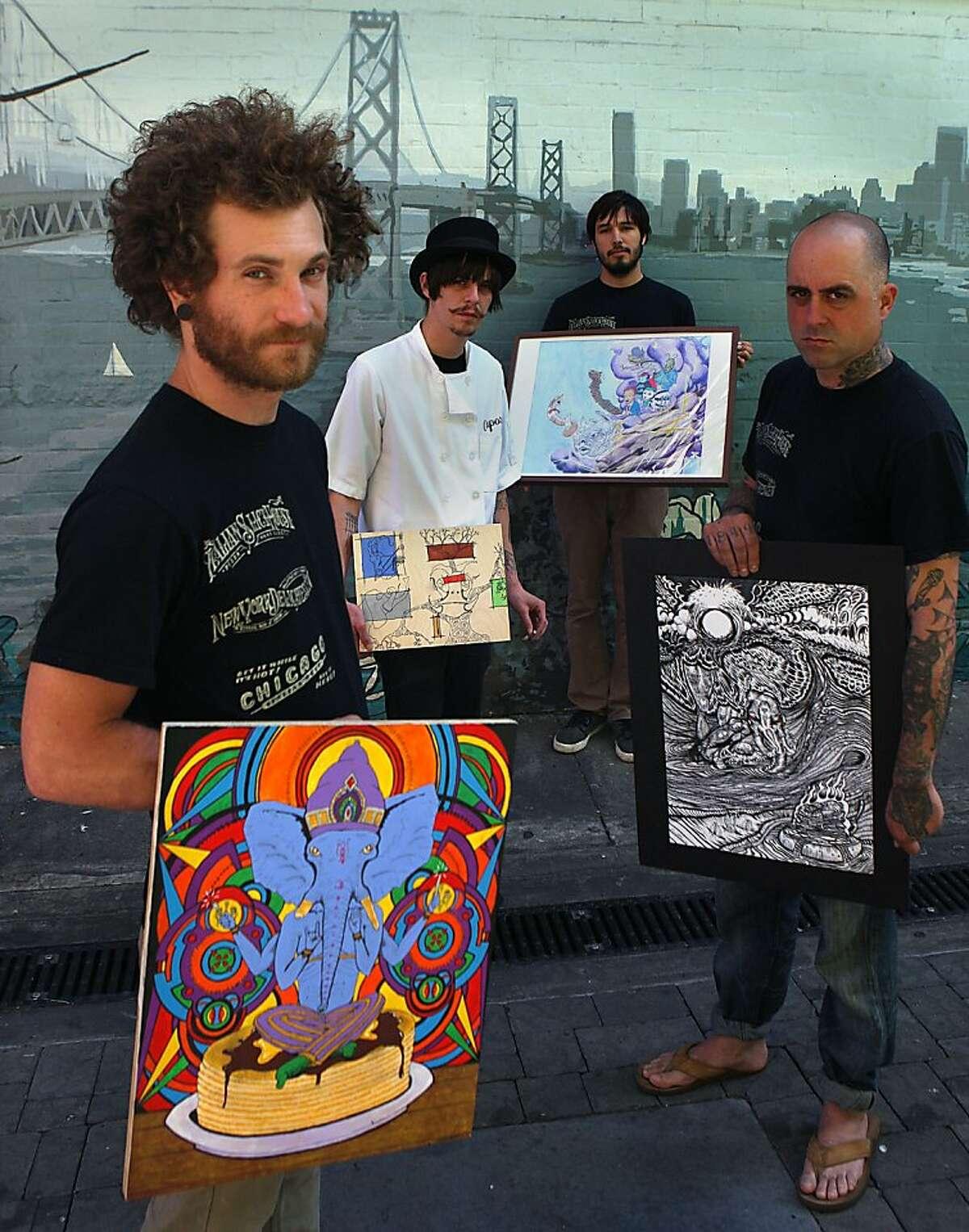 Left to right-Matt Taylor, Matt Molina, Andy Sciazko, and Ernest B. Mancuso show their artwork from