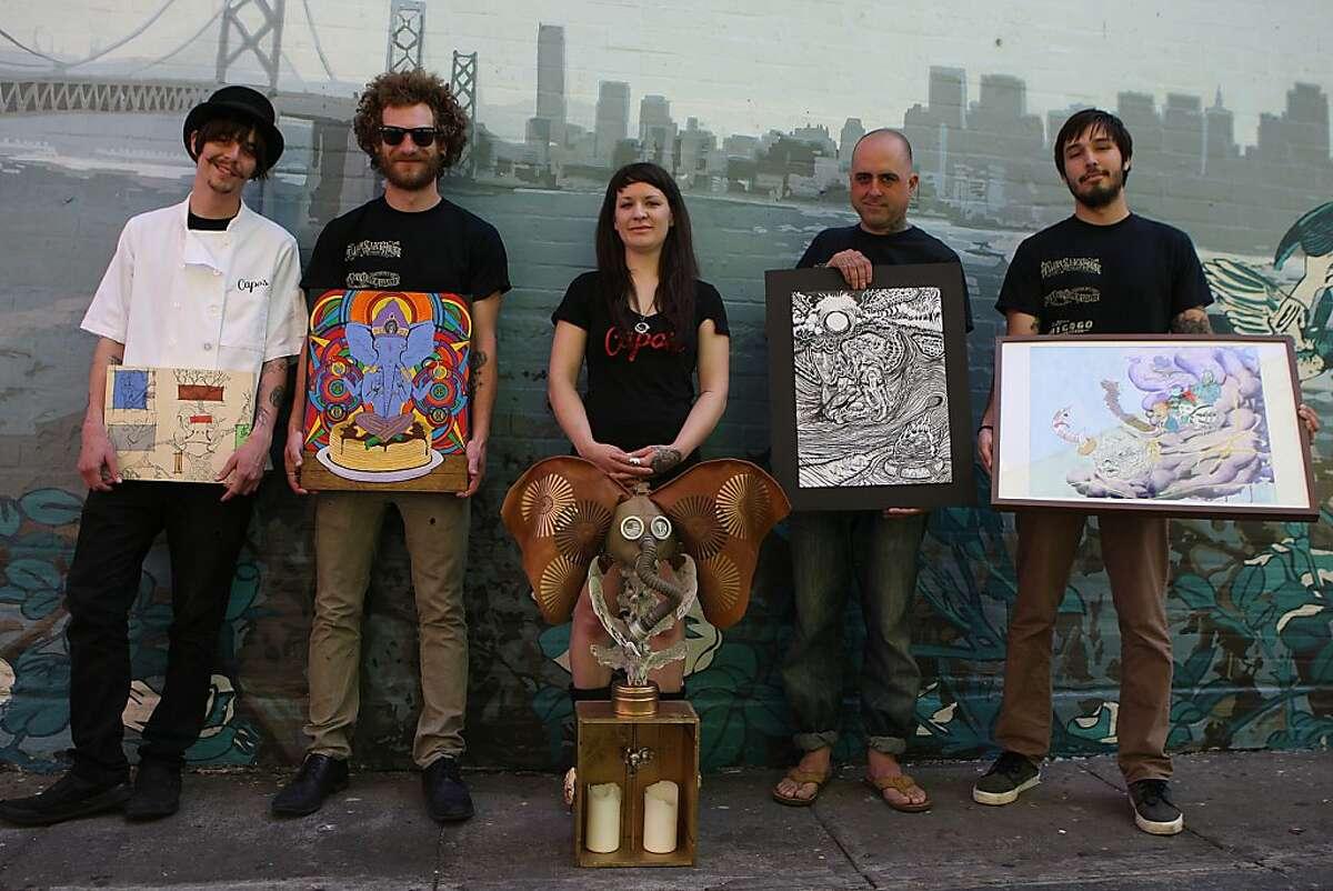 Left to right----Matt Molina, Matt Taylor, Nikki Rosing, Ernest B. Mancuso, and Andy Sciazko show their artwork from