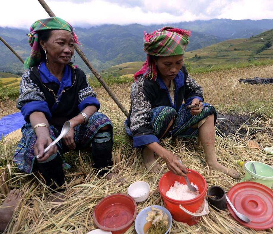 Vietnam: Hmong hilltribe women having lunch as they harvest rice on terrace rice fields in Mu Cang Chai district, in the northern mountainous province of Yen Bai. The local residents, mostly from the Hmong hill tribe, grow rice in the picturesque terrace fields whose age is estimated to hundreds years. Due to hard farming conditions, especially irrigation works, locals produce only one rice crop per year. In recent years a growing numbers of tourists have been attracted by the beautiful landscapes created by the region's rice terrace fields. Photo: Hoang Dinh Nam, AFP/Getty Images