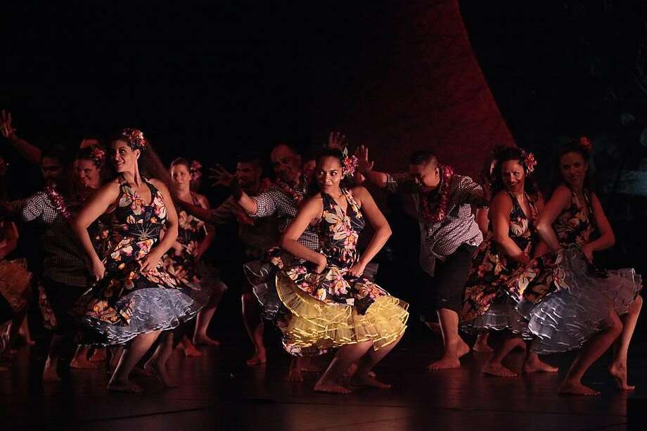 Dance company Na Lei Hulu I Ka Wekiu draws inspiration from history for its hula show at the Palace of Fine Arts. Photo: Lin Cariffe., The Hula Show 2013