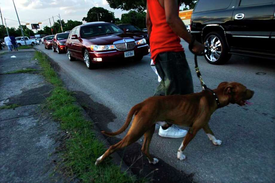 "Pierre Taylor, 19,  holds on to his pit bull named Brownie, as he watched a parade of ""SLABs"" drive down the 6800 block of Martin Luther King Blvd. in 2007, in Houston. ( Johnny Hanson / For the Chronicle) Photo: Johnny Hanson, For The Chronicle / Freelance"