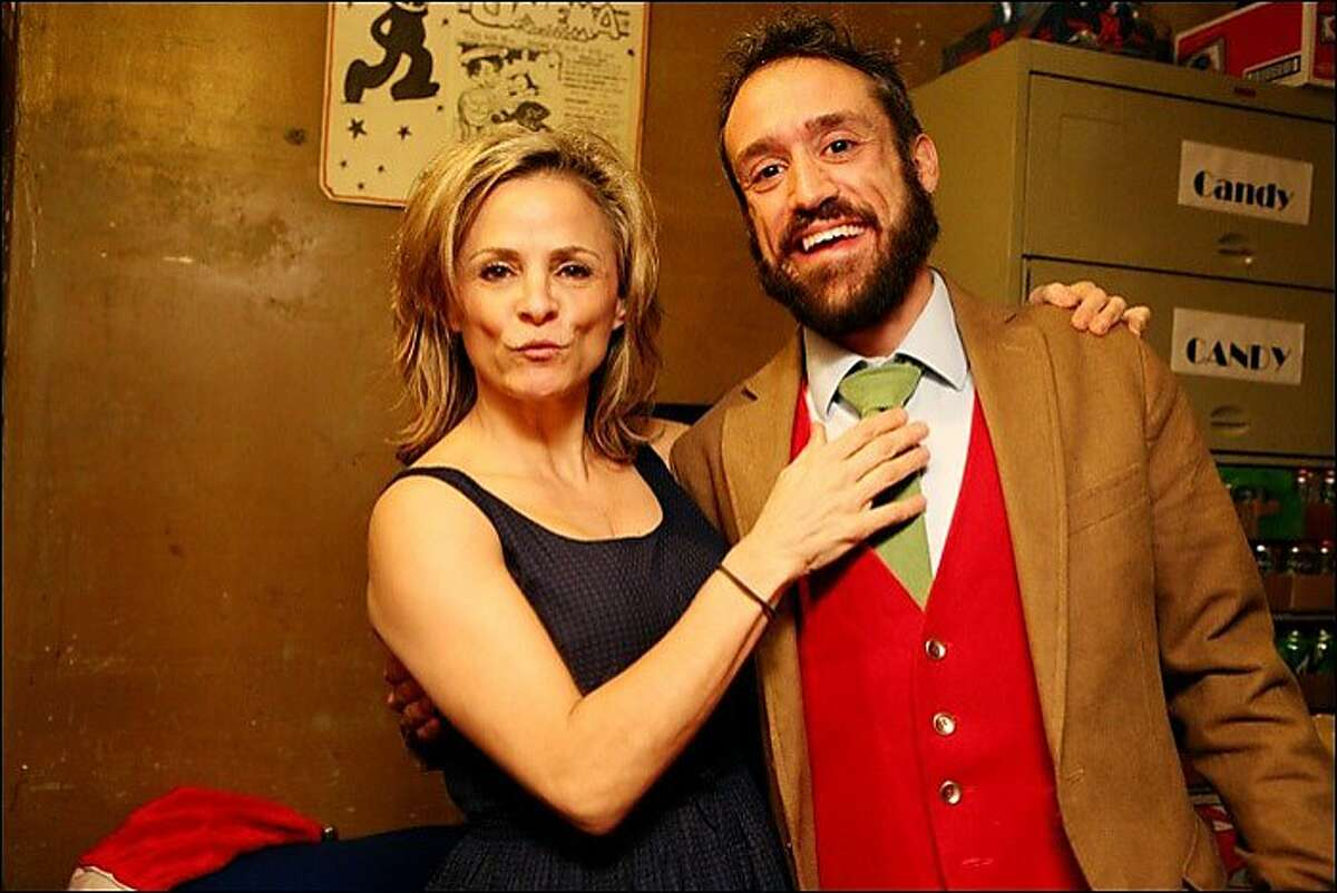 artsandends jpg 2: Chris Statton, who helped raise funds and expand programming at San Francisco's Roxie Theater, has resigned as executive director due to illness. He's seen here with actress, writer and comedian Amy Sedaris, one of many artists who appeared at the Roxie during his tenure. Courtesy Roxie Theater.