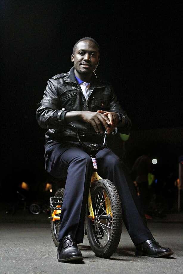Chris Ategeka at UC Berkeley, where he earned degrees in engineering and awards for a bike program in Uganda. Photo: Raphael Kluzniok, The Chronicle