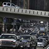 Cars on 1st Street are seen sitting in traffic as they head toward a Bay Bridge onramp in the early afternoon on Friday, October 18, 2013 in San Francisco, Calif.
