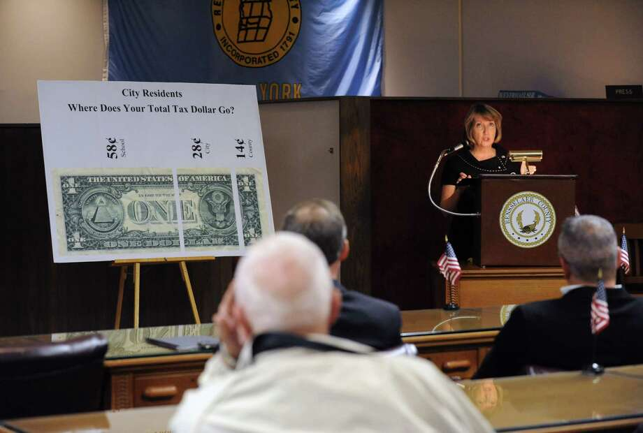 Rensselaer County Executive Kathleen Jimino unveils her proposed 2014 county budget on Friday Oct. 18, 2013 in Troy, N.Y. (Michael P. Farrell/Times Union) Photo: Michael P. Farrell / 00024282A